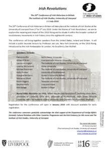 Irish Revolution -  Program of Conference, 2016